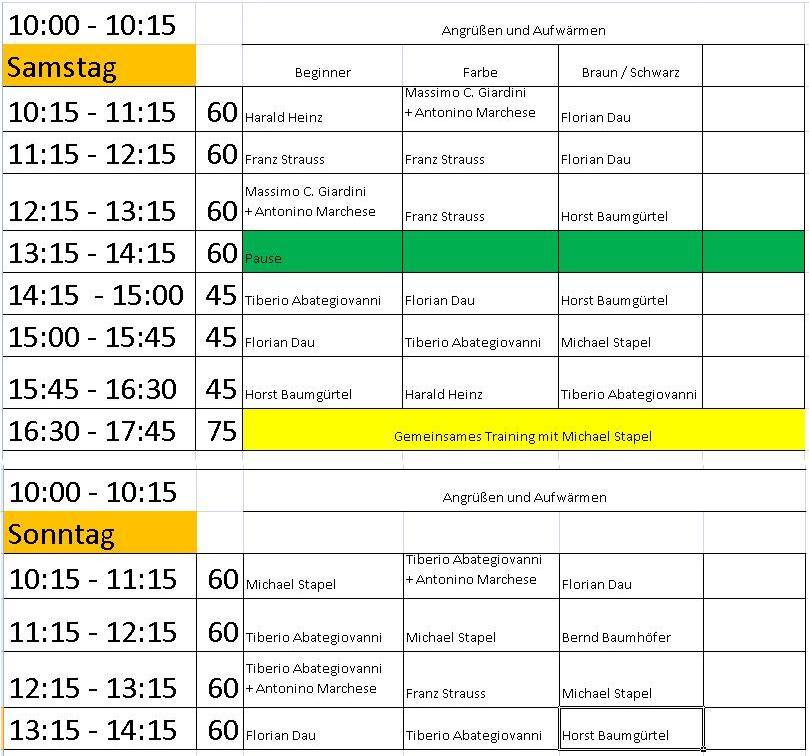 Mattenplan12-2 Kampfkunst Seminar 2012 mit Horst Baumgürtel